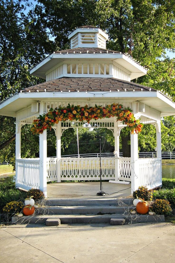 fall decor for wedding ceremony gazebo