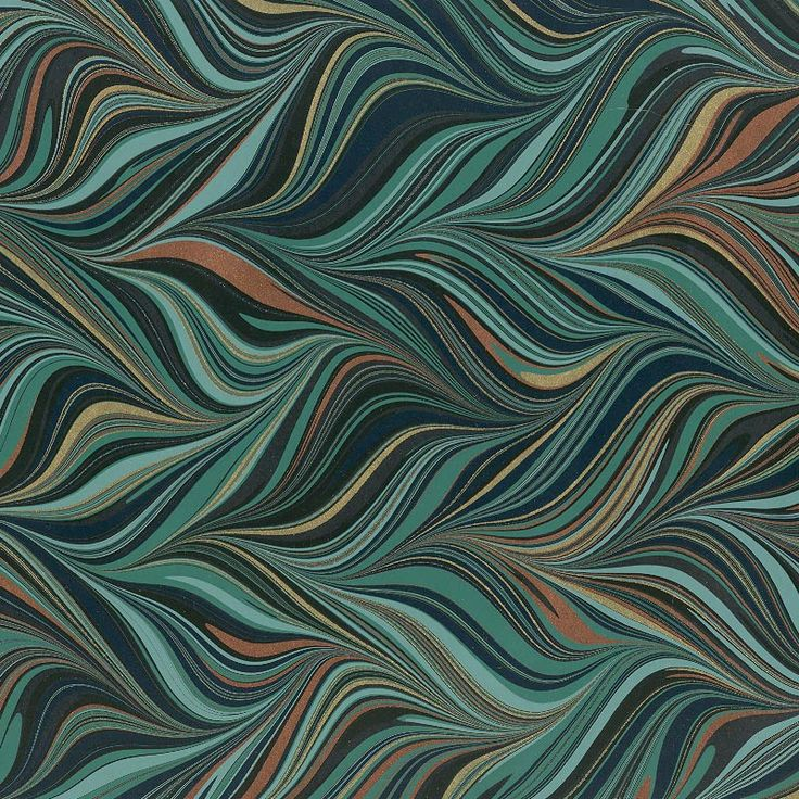 16th century marbling techniques are combined with modern materials and aesthetics to create these refined marbled papers with sophisticated colors and metallic accents. Hand marbled in Brazil.
