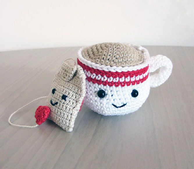 Handmade Crochet Amigurumi Play Food Tea Cup and Tea Bag Gift Set by ChelseaAndMarbles on Etsy https://www.etsy.com/listing/178933580/handmade-crochet-amigurumi-play-food-tea