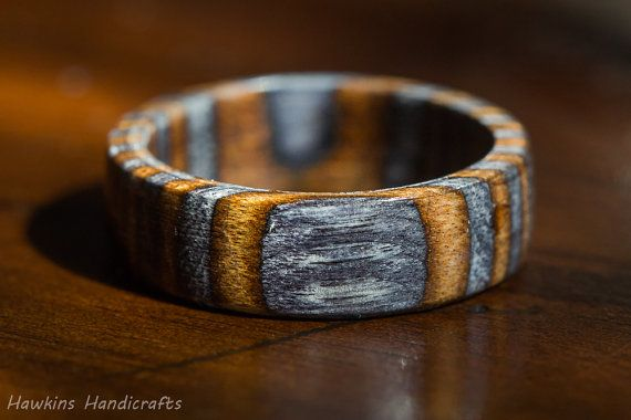 Wedding Ring Bands >> Brown and Gray Spectraply Wood Ring - Mens Womens Custom Hand Carved Wedding Engagement Band ...