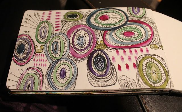 Artjournal with watercolors and pens