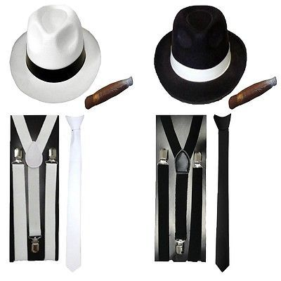 #Gangster #fancy dress mens hat tie braces cigar 1920s al capone #accessories,  View more on the LINK: 	http://www.zeppy.io/product/gb/2/322233625769/