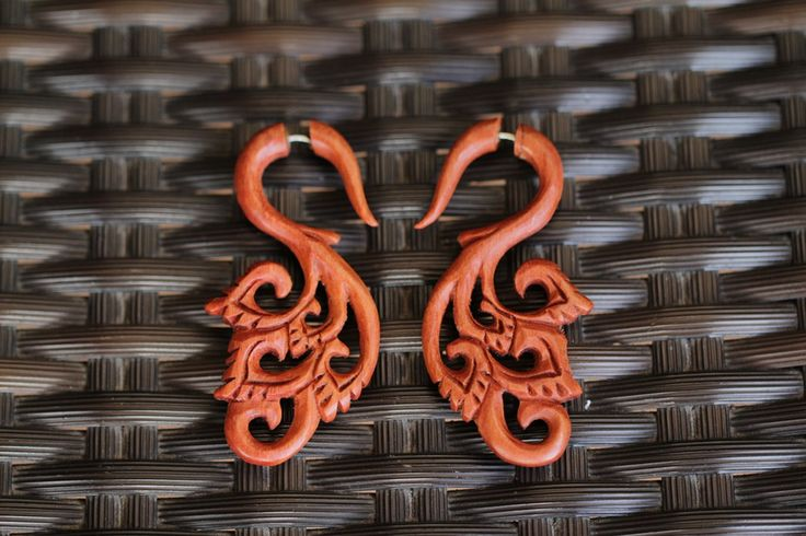 Fake Gauges Earrings Nirmala Faux Gauges Wood Earring Design Fake Plugs Gauges Wooden Earrings FGW-0110 by AyuJewelry #etsy #jewelry #tribal #bonecarving #horncarving #woodcarving
