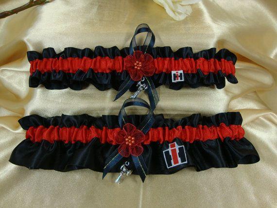IH Case Colors Black Satin And Red Wedding Garter Set