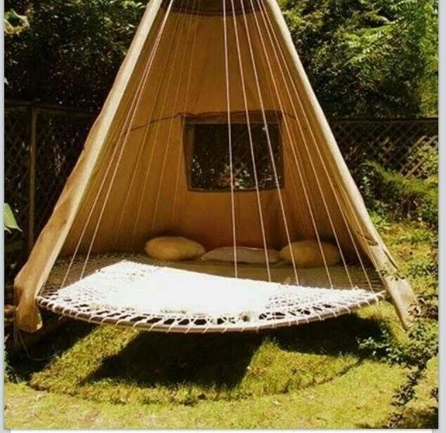 Old Trapoline Recycled Into Cool Hanging Bed Seat Thing