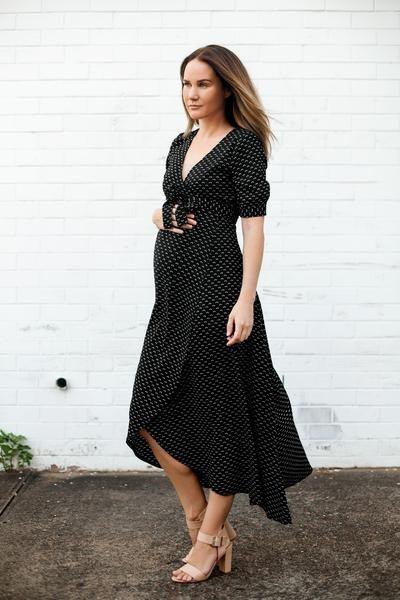 Harlow Maternity and Nursing Wrap Dress (Black Preppy)