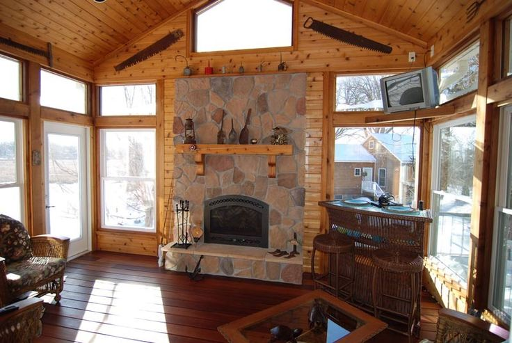 Nice Stone On Fireplace Four Season Rooms Pinterest