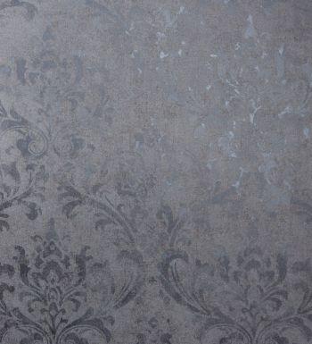 Papel pintado damasco gris oscuro con destellos metalizados fondo gris - 2020529