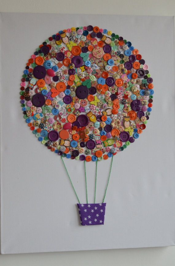 Button art hot air balloon large canvas handmade on Etsy, £20.00