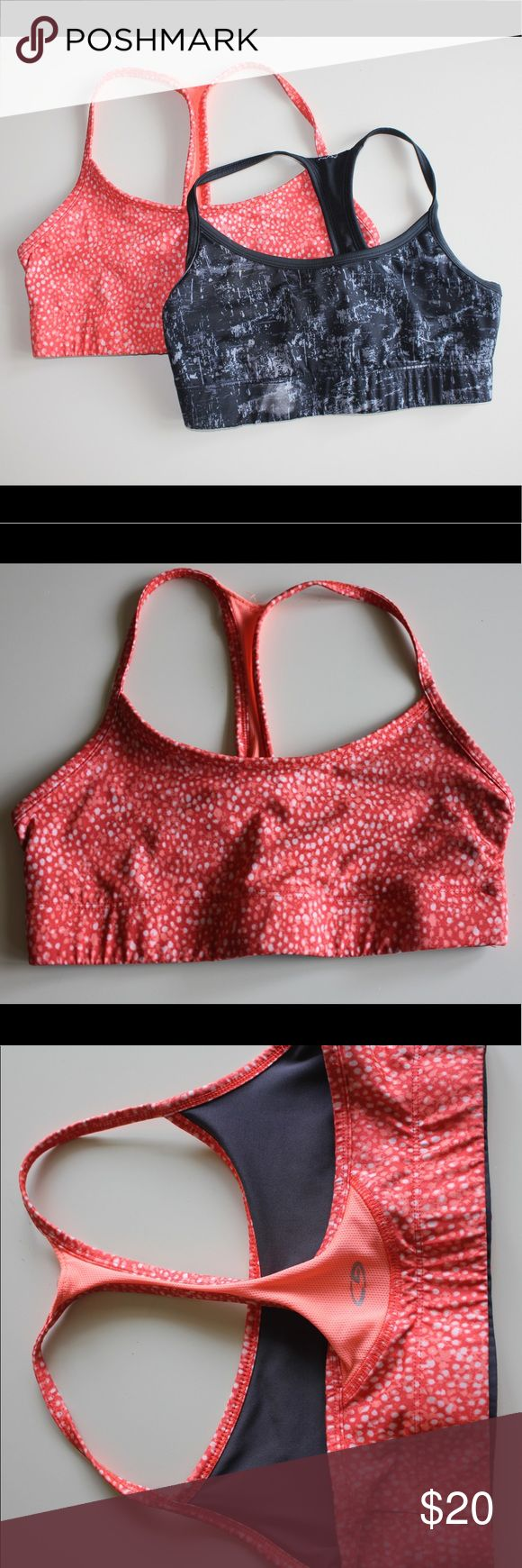 CHAMPION sports bra bundle!!! orange and black patterned sports bra. black is reversible! Champion Intimates & Sleepwear Bras
