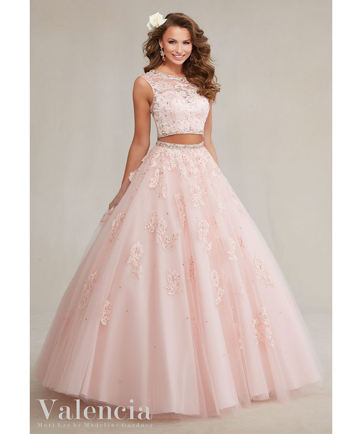 Delicate Two Piece Quinceanera Dresses 2016 Blush Pink Tulle Lace Princess Quinceanera Dress Long Sweet 16 Ball Gowns#89088