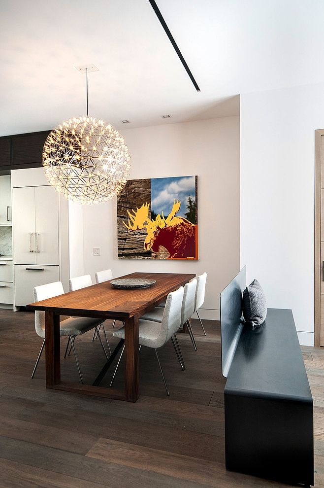 LOVE that solid wood modern lined table. Rectangular wood legs. Rox Residence by Shirley Meisels