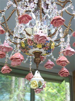 Vintage chandolier hanging porcelain roses right! seems