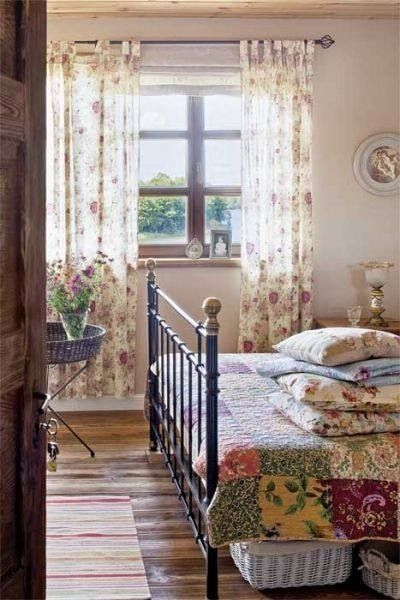 Beautiful colorful floral drapery in a rustic bedroom. Interior design ideas ~ home decor ~ window treatments ~ Dream homes