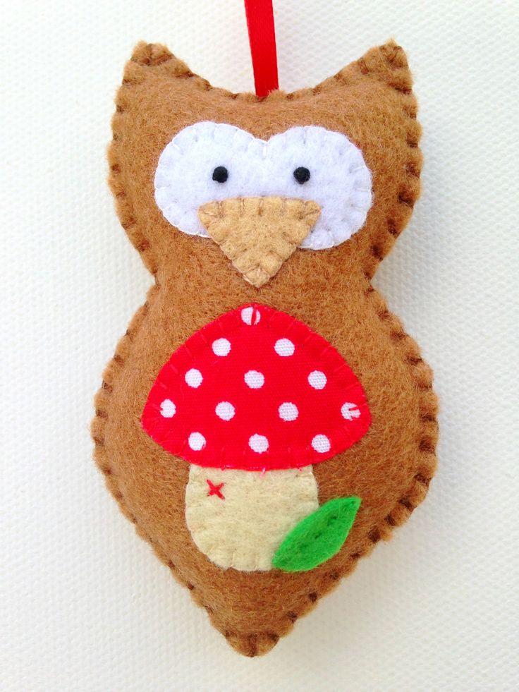 Hand stitched Felt Owl Christmas Ornament