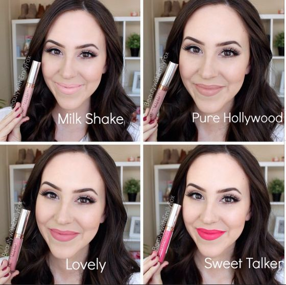 Anastasia Beverly Hills Liquid Lipsticks lip swatches : Milk Shake, Pure Hollywood, Lovely, Sweet Talker - BeautywithEmilyFox