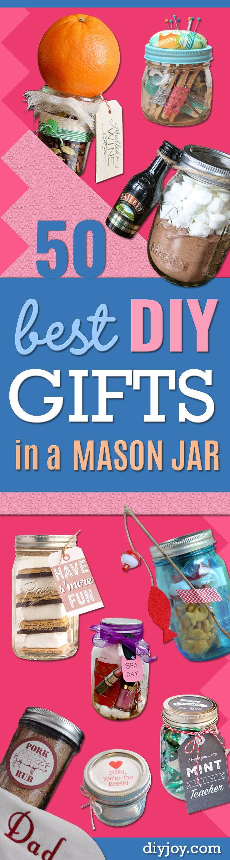 Best DIY Gifts in Mason Jars - Cute Mason Jar Crafts and Recipe Ideas that Make Great DIY Christmas Presents for Friends and Family - Gifts for Her, Him, Mom and Dad - Gifts in A Jar That Are Easy, Quick and Cheap http://diyjoy.com/best-diy-mason-jar-gift