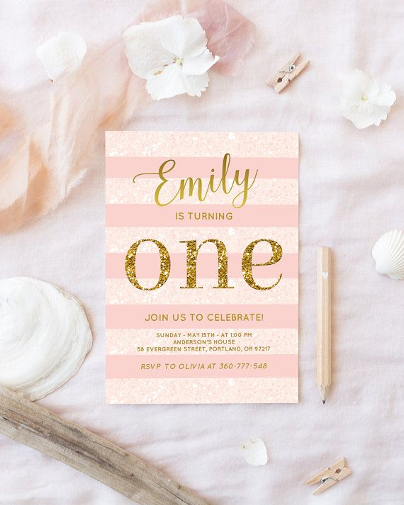 Pink and gold first Birthday Invitation. Created with beautiful calligraphy, trendy rose quartz color (its one of 2016 year colors), baby blush pink and gold glitter, this party invite will be perfect for your little girls birthday.  You will receive an ~DIGITAL DOWNLOAD~ 300 dpi resolution ready to print JPEG file size 5x7   ***Important note! This 1st birthday party invitation is not editable by you. But it will be customized with with your own information. This is a printable invitation…