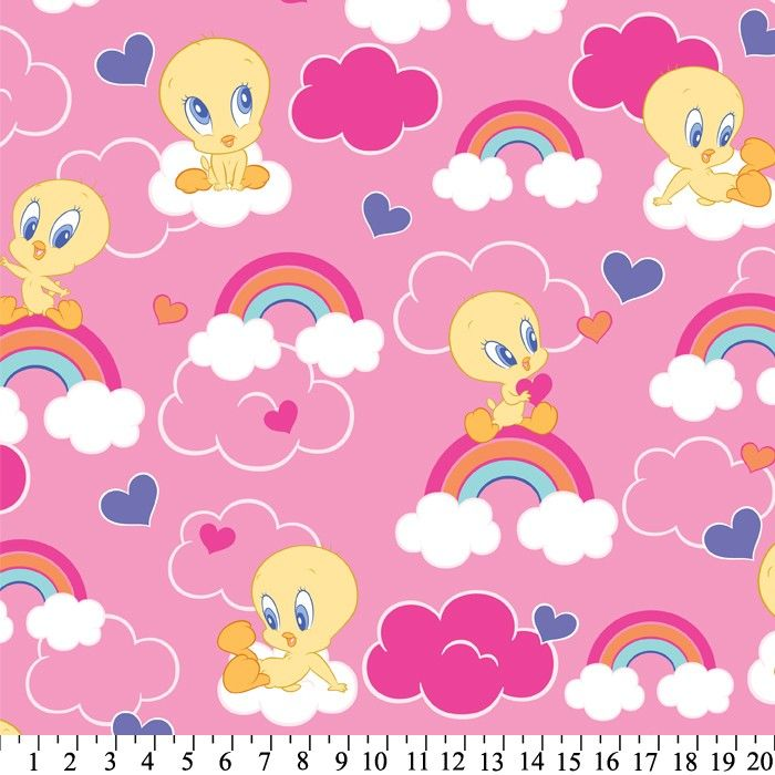 Baby Tweety Rainbows Anti-Pill Fleece Fabric By Looney Tunes