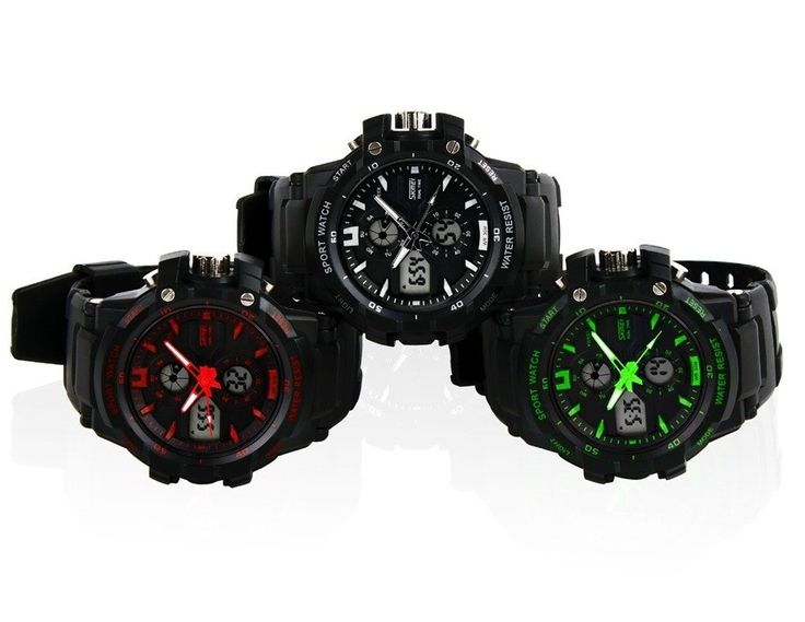 Cool Digital Analog Sports Wrist Watch with Soft Plastic Strap Water Resistant Watches