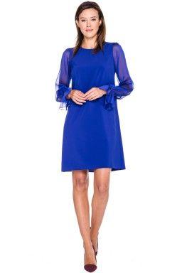 Szafirowa sukienka z szyfonowymi rękawami - Topsi
