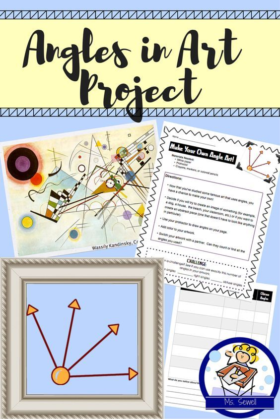 In this Powerpoint, students look at famous works of art and discuss how many/types of angles they see. Great introduction to angle work and motivates students to find geometry in the world! Now included is a graphic organizer to help students analyze and reflect on the art, as well as directions to create their own Angle Art Project!