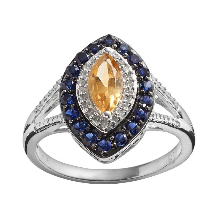 Awesome Mine and Tyler us Birthstone Sterling Silver Citrine Lab Created Sapphire Diamond Accent Marquise Halo Ring
