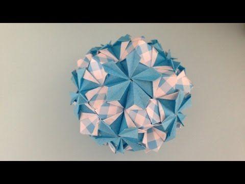 折り紙Origamiのくす玉 花 ニチニチソウ 折り方 - YouTube