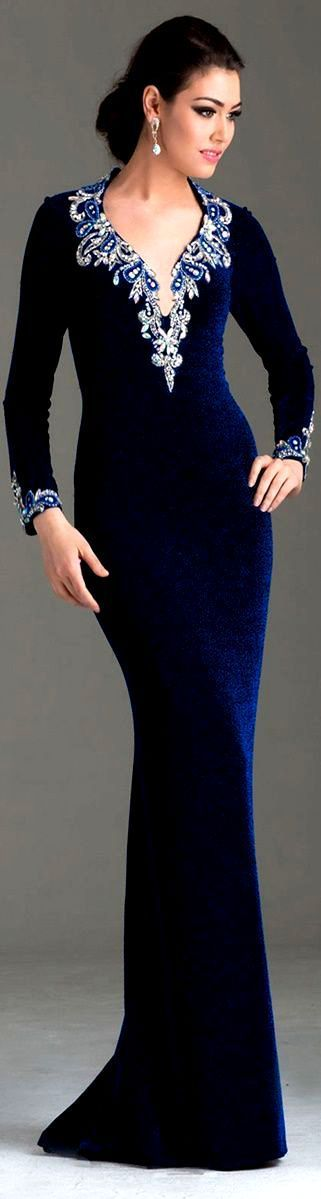 Long Sleeve Blue Velvet Evening Gown - GORGEOUS! !