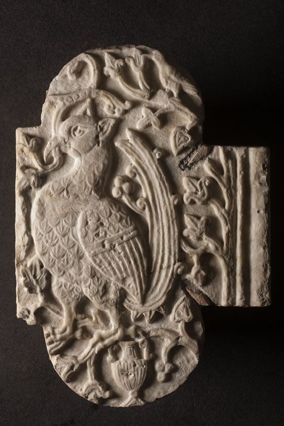 Fragment of a chancel panel (?) with a cock Southern Italy, probably Salerno  8th-9th century  63 x 48.5 x 3 cm; marble