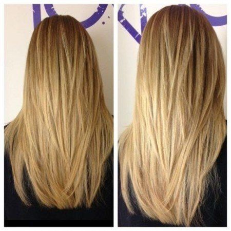 Long Hair With A V Shape Cut At The Back Women Hairstyles Long Layered Haircut Back View