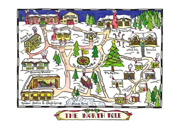 Best 25 north pole map ideas on pinterest christmas village north pole map 11 x 14 archival print christmas by paintandink sciox Image collections