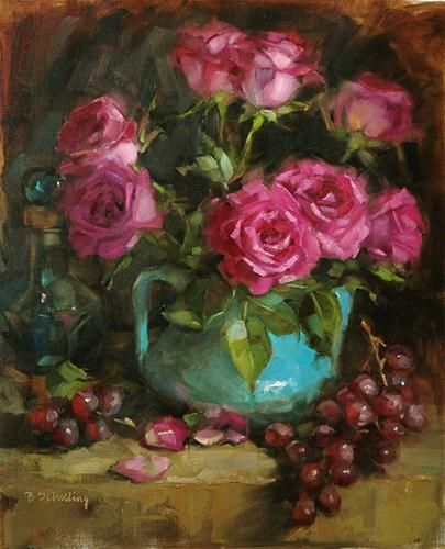 """Roses on Black"" - Original Fine Art for Sale - © Barbara Schilling"