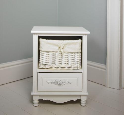 Toulouse range floral white 1 basket wicker storage unit - White wicker bathroom accessories ...