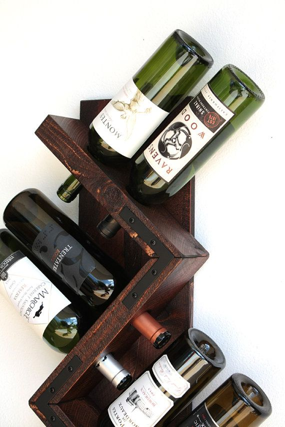 Rustic Wood Wine Rack  Wall Wine Display  Wine Bottle Holder