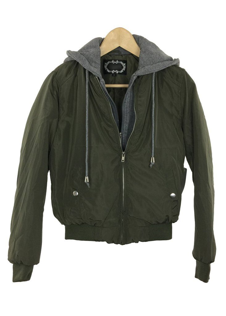 tessa bomber jacket with hoodie (green)