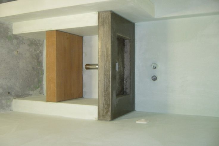 Solidus wasbak beton met eikenhouten schap