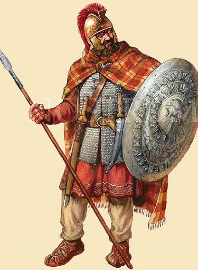 Dacian warrior with Illyrian helmet.