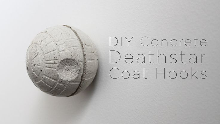 I made this concrete deathstar coat hook using a ice cube mold filled with Quikrete countertop mix. I inserted a wood screw into the wet concrete and then sc...