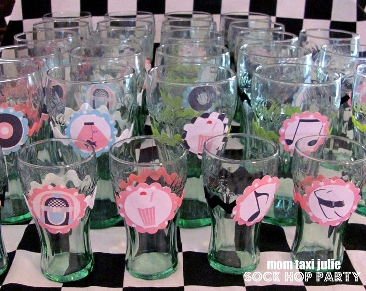 Mom Taxi Julie: Momu0027s Sock Hop Party Saw These Glasses At Dollar Tree.