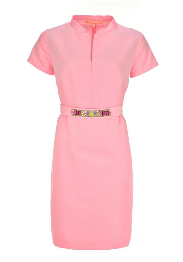 Vilagallo Casandra Embellished Belt Short Sleeve Dress, Pink | McElhinneys Department Store