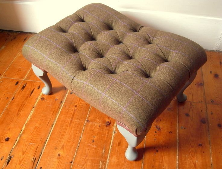 Tweed Buttoned Footstool covered in the groom's suit fabric with buttons covered in brides outfit off-cuts.Stuffed with happy memories. By Boxinghare.