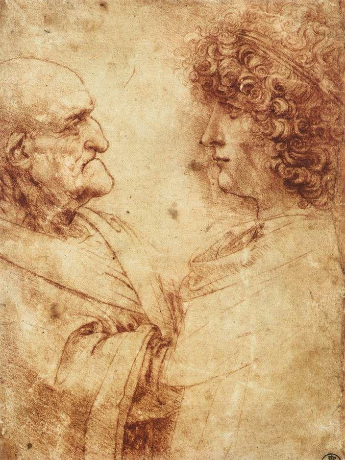 LEONARDO DA VINCI (1452 - 1519)   Heads of an Old Man and a Youth, study.