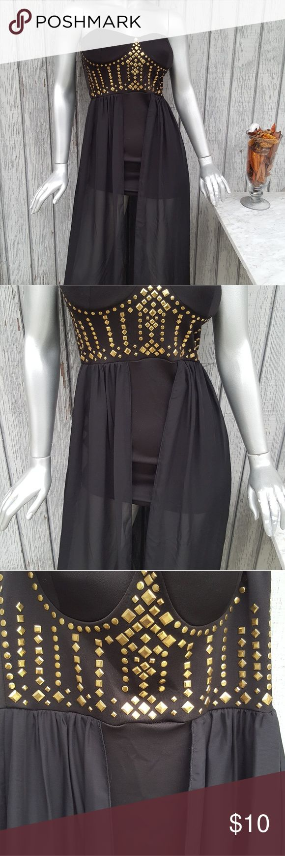 Forever 21 strapless studded dress 93% Polyester  7% Spandex  Short skirt w black veil  Accepts reasonable offers* Smoke free home* Save the planet buy pre owned ♡  Mannequins measurements  Height 5'8' 34 DD Bust 63 Waist 35 Hips Shoulder to waist 39 inches Hip to leg 42 inches  Thank you for looking at my store.♡ Forever 21 Dresses Maxi