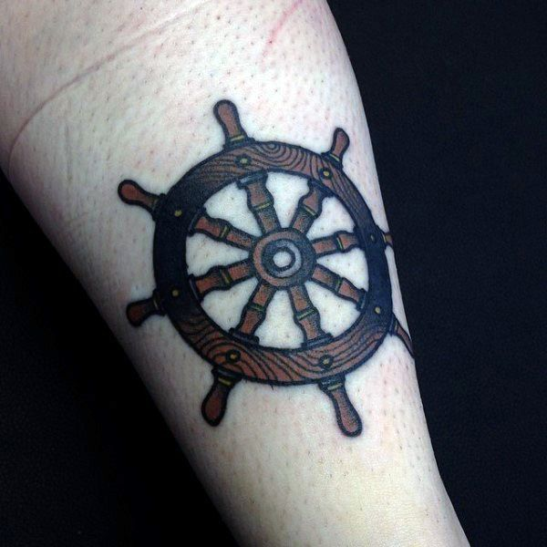 Small Simple Detailed Mens Ship Wheel Tattoo On Forearm