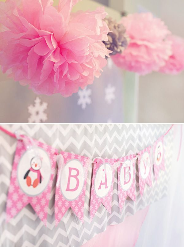 Perfect Cozy Pink Penguin Winter Wonderland Baby Shower