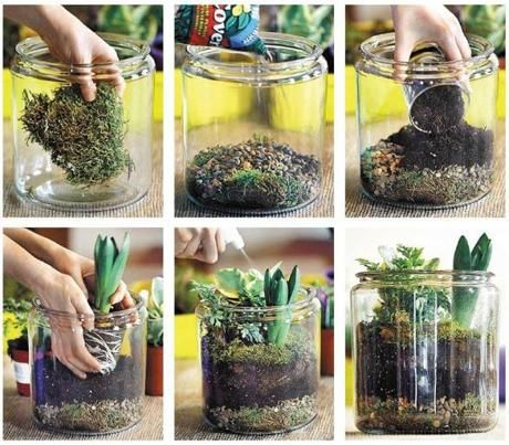 WET TERRARIUM: Start with a layer of moss, then add a layer of rocks for drainage. Follow that with a layer of soil and then begin arranging your plants (like hyacinth and Silver Lace fern) until you get the look that you want.