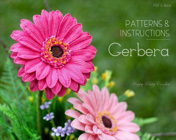 Gerbera patrón de ganchillo - Crochet Margarita del Gerbera flor patrón - patrón de la flor de ganchillo - Gerbera flor patrón - patrón de ganchillo