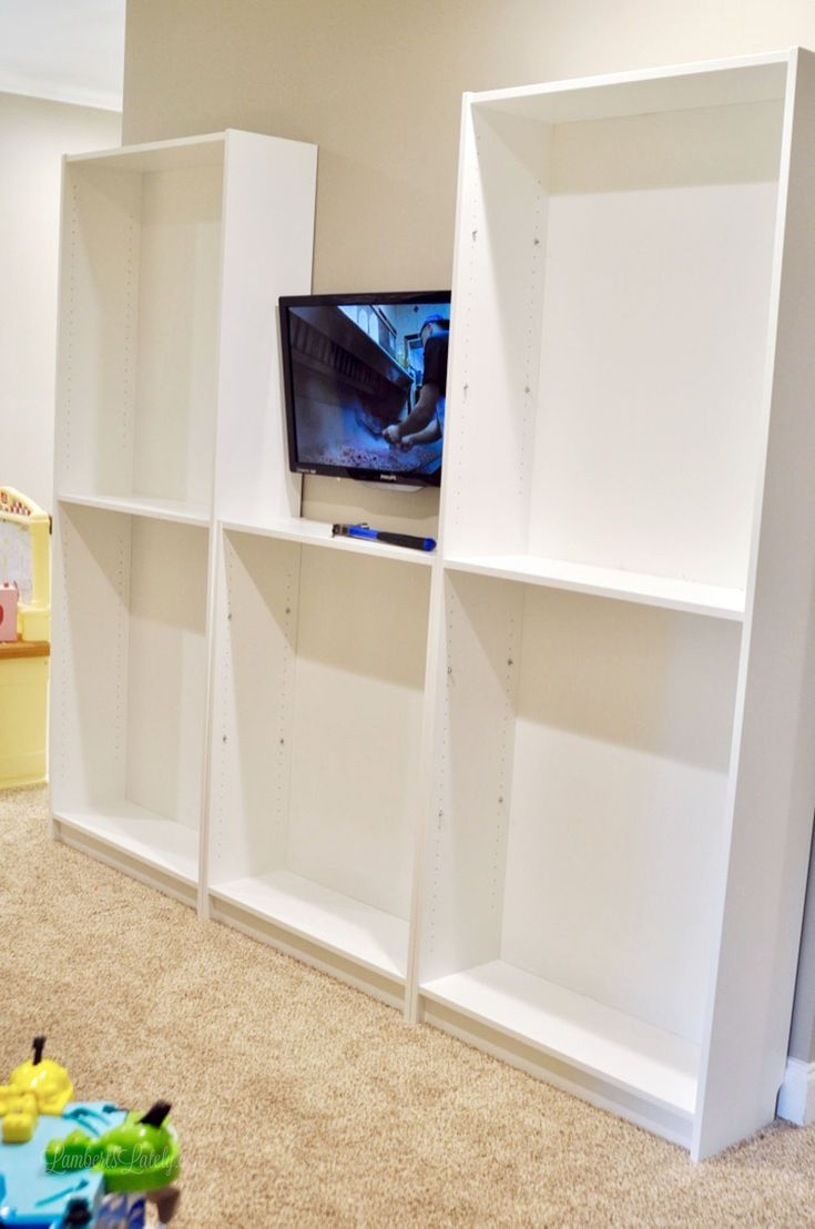 Ikea Hack: Turn Billy Bookcases Into a Built-In Entertainment Center | Lamberts Lately