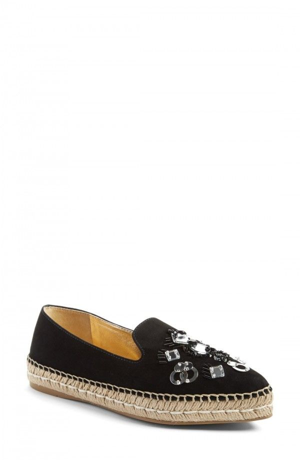 Prada Embellished Pointy Toe Espadrille Flat (Women) | Fashiondoxy.com   Description - Free shipping and returns on Prada Embellished Pointy Toe Espadrille Flat (Women) at Fashiondoxy.com. Pre-order this style today! Add to Shopping Bag to view approximate ship date. You'll be charged only when your item ships.
